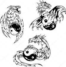 Dragon Tetování S Jin Jang Příznaky Stock Vektor Rorius 13704582