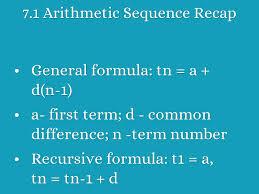 7 1 arithmetic sequence recap general formula tn