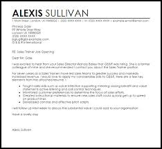 Example Resume Cover Letter Stunning Sales Trainer Cover Letter Sample Cover Letter Templates Examples