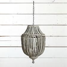 greywash wood bead chandelier