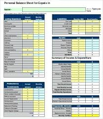 Personal Balance Sheet Template Free Word Excel Personal Household ...