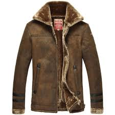 mens air force pilot fur lining suede fur leather jacket coat outwear overcoat