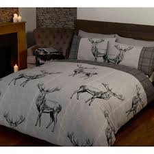 phenomenal wildlife bedding set image inspirations highland stag double duvet cover sets red grey