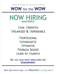 good job skills wow for the wow job search skills resume butterfly now hiring