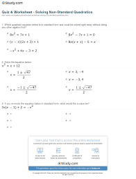 print how to solve quadratics that are not in standard form worksheet