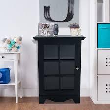 homcom wooden accent end table w glass door storage black