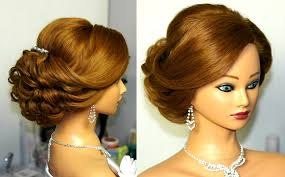 Medium Hair Style Woman bridal updo romantic hairstyle for medium hair youtube 2427 by wearticles.com
