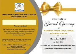 Grand Opening Invitations The Grand Opening Invitation Napenda Kuishi Trust