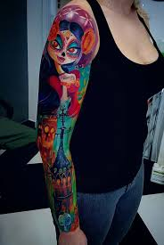colorful tattoo sleeve designs. Perfect Designs A Brightly Inked Sleeve Tattoo What Makes This Design Pop Out Is The Usage  Of And Colorful Tattoo Sleeve Designs T