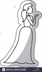 Woman Bride Wedding Outline Stock Vector Art Illustration Vector