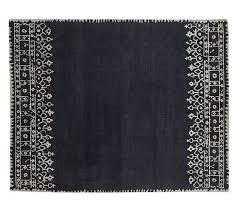 desa bordered wool rug indigo blue