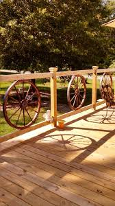 wood deck railing ideas. Wagon Wheel Deck Railing Wood Ideas