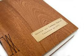 custom made mahogany guest book with wood covers custom wedding personalized anniversary gift
