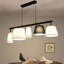 modern contemporary 5 light steel pendant light with fabric shade for corridor living room
