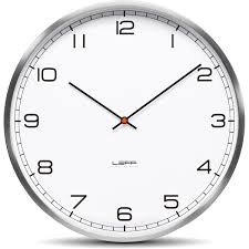 one wall clock  stainless steel white arabic  leff amsterdam