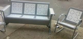 vintage iron patio furniture. Restored Vintage Metal Patio Gliders In Furniture Ideas White Wrought Iron E