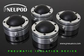 the pneupod uses a rubber diaphragm inflated with air pressure to isolate what it holds above from everything below more info at the above link