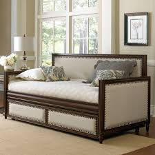 daybed with trundle. Grandover Wood \u0026 Upholstered Daybed In Cream / Espresso With Trundle