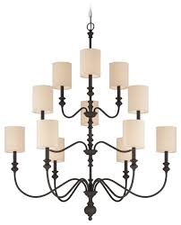 willow park 12 light chandelier gothic bronze with beige fabric