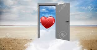 digitally generated image of open door to sea with red heart shape stock photo 71096372