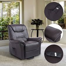 homcom luxury faux leather three position lift chair recliner with remote dark brown electric lift chair