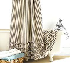 barn a ticking fabric shower curtain cloth liner with matching window treatment