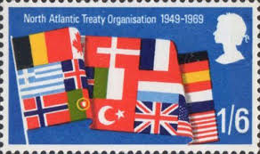Royal Postage Chart Notable Anniversaries 1s6d Stamp 1969 Flags Of Nato