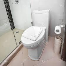 Weiß Toilette In Einem Badezimmer Gefliest Innen Lizenzfreie Fotos