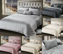 details about luxury crushed velvet diamante duvet set bedding collection single double king
