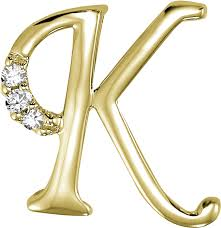 14k yellow gold 3 8 inch 0 06ct diamond initial k pendant