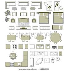 Set Top View For Interior Icon Design. Elements For Living Room, Bedroom,  Kitchen