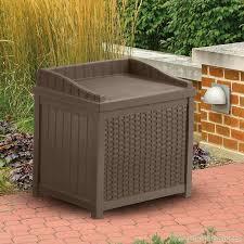 outdoor storage boxes plastic. suncast 83 litre wicker style plastic storage seat outdoor boxes