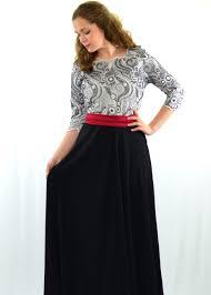 Black White Red Maxi Dress Modli