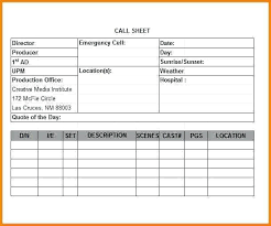 Call Sheet Template Excel | Nfcnbarroom.com