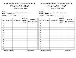 Berikut ini adalah 1 contoh desaign kartu pembayaran (spp) mda yang baru saya buat dan digunakan oleh sekolah mda sinar islam yang ada dikampung indah desaku bila anda minat 1 desaign ini bisa anda download disini format : Contoh Kartu Spp Paud Pembayaran Iuran Format Excel Cute766
