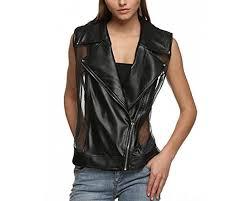 qearal women s patchwork rivet sheer and faux leather vest zip up waistcoat plus black
