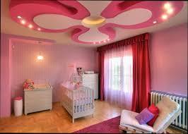 girly pink pop ceiling design ideas for nursery