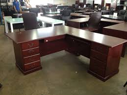 large l shaped office desk. Furniture L Shaped Home Office Tapered Legs Solid Wood Materials Black Leather Cushions Open Shelves On Large Desk E
