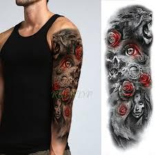 Waterproof Temporary Tattoo Sticker Tiger Animal Full Arm Fake Tatto Body Art Large Flash Tatoo Sleeve Tattoos For Men Women