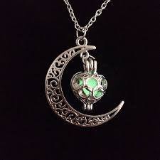 details about new glow in the dark stainless steel chain moon crescent necklace pendant