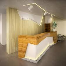 luxury reception desk with wood and stone design for beauty salon