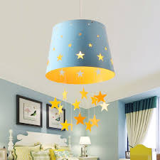 modern 1 light adorable pierced star blue pink hanging drum shade kids room pendant