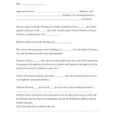 Basic Rental Agreement Template Rental Agreement Month To Month Template