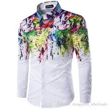 How To Design A Shirt With Paint 2019 2017 New Arrival Man Fashion Shirt Pattern Design Long Sleeve