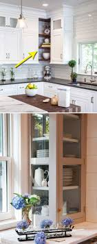 replace a corner cabinet with glass gallery cabinet or open shelve to create an attractive kitchen feature