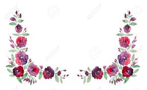 Watercolor Frame With Purple Flowers And Green Leaves On White