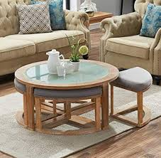o k furniture round coffee table with 4 nesting stools tail height coffee table with frosted