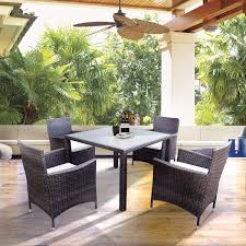 Amazon com 5 pieces patio dining sets outdoor rattan dining furniture sets with 4 wicker chairs and glass table beige cushions garden outdoor