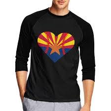 Mens 3 4 Sleeve Tshirts Arizona Flag Baseball Heart Raglan