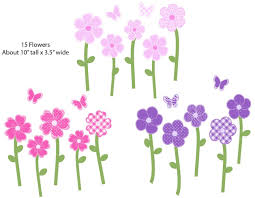 nursery decalore stickers purple and pink flower